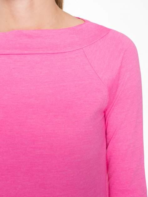 Różowa gładka bluzka z reglanowymi rękawami                                  zdj.                                  5