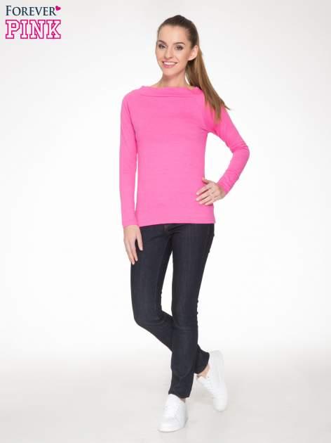 Różowa gładka bluzka z reglanowymi rękawami                                  zdj.                                  2