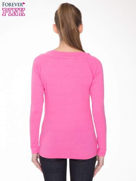 Różowa gładka bluzka z reglanowymi rękawami                                  zdj.                                  4