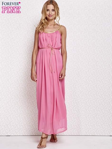 Różowa grecka sukienka maxi ze złotym paskiem                                  zdj.                                  2