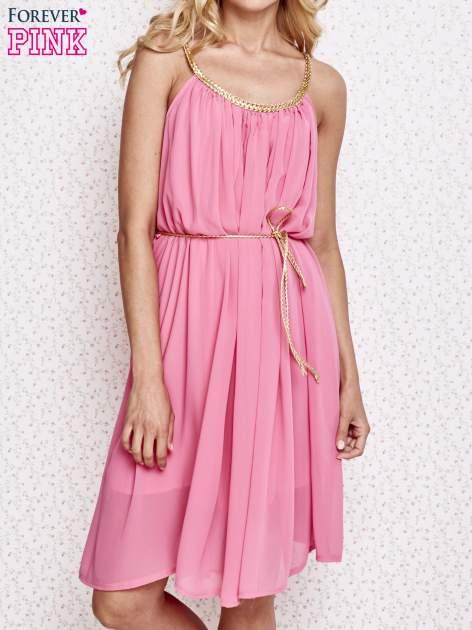 Różowa grecka sukienka ze złotym paskiem                                  zdj.                                  1