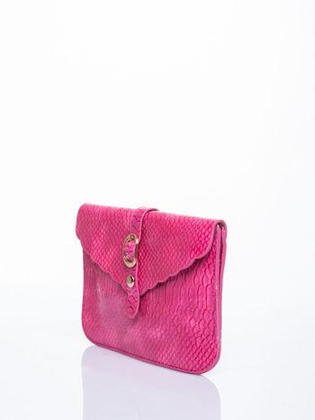 Różowa kopertówka z motywem skóry krokodyla                                  zdj.                                  3