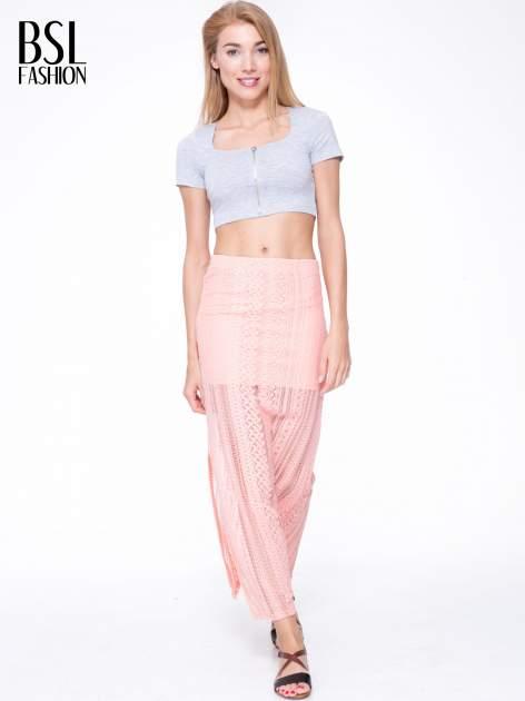 Różowa koronkowa spódnica maxi z rozporkiem                                  zdj.                                  5