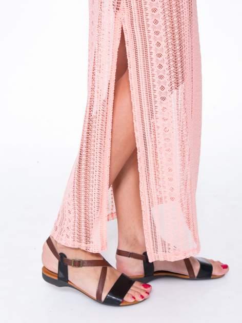 Różowa koronkowa spódnica maxi z rozporkiem                                  zdj.                                  7