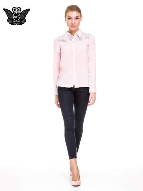 Różowa koszula damska z koronkową górą                                  zdj.                                  2