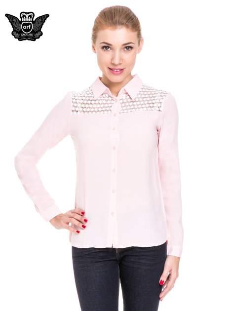 Różowa koszula damska z koronkową górą                                  zdj.                                  1