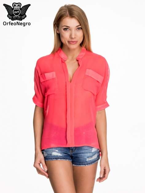 Różowa koszula mgiełka z kieszonkami