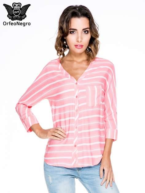 Różowa koszula w paski z rękawem 3/4                                  zdj.                                  1