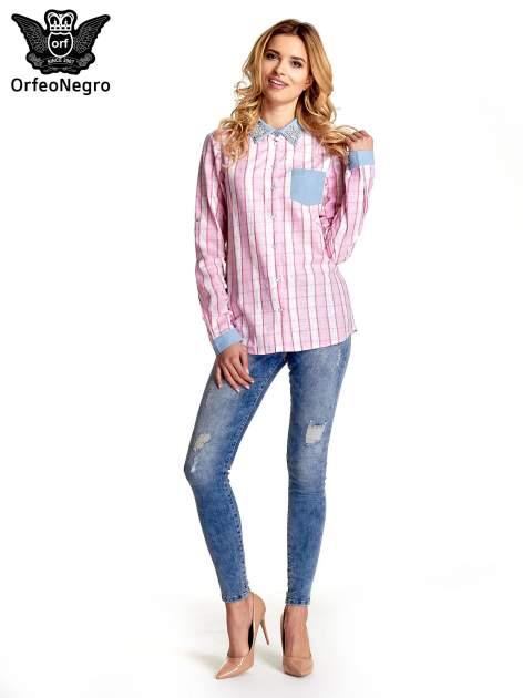 Różowa koszula w pasy z kołnierzykiem, mankietami i kieszonką z jasnego denimu                                  zdj.                                  9