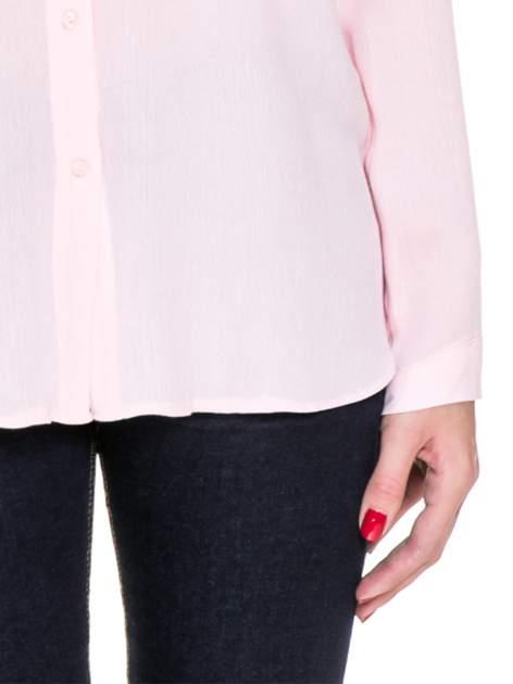 Różowa koszula z biżuteryjnym kołnierzykiem i kieszonką                                  zdj.                                  6