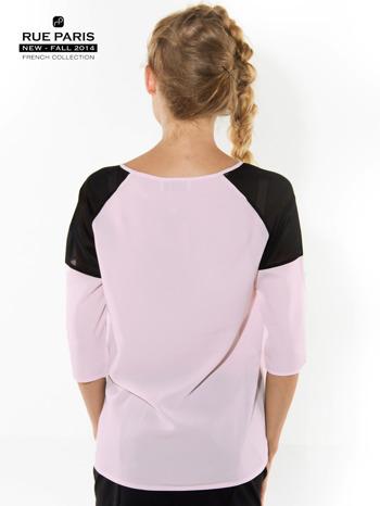 Różowa koszula z czarnymi wstawkami na ramionach i rękawem 3/4                                  zdj.                                  4