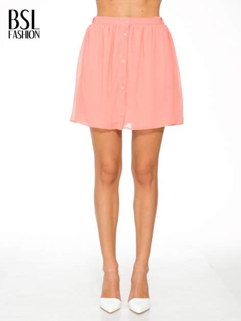 Różowa mini spódnica zapinana z przodu  na rząd guzików                                  zdj.                                  1