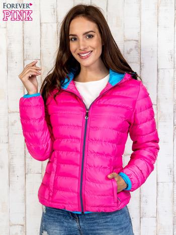 Różowa ocieplana kurtka z kieszeniami                                  zdj.                                  4