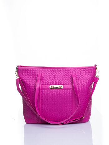 Różowa pleciona torba shopper bag ze złotym detalem