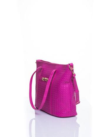 Różowa pleciona torba shopper bag ze złotym detalem                                  zdj.                                  4