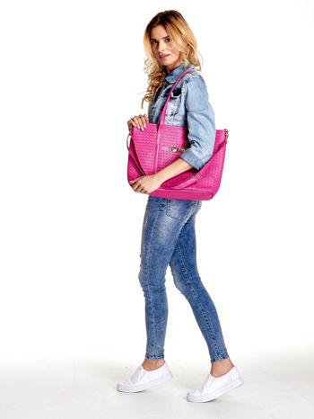 Różowa pleciona torba shopper bag ze złotym detalem                                  zdj.                                  6