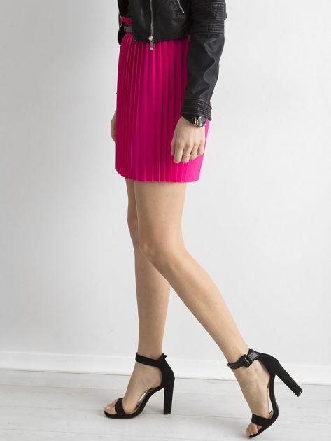 Różowa plisowana spódnica z paskiem                              zdj.                              3