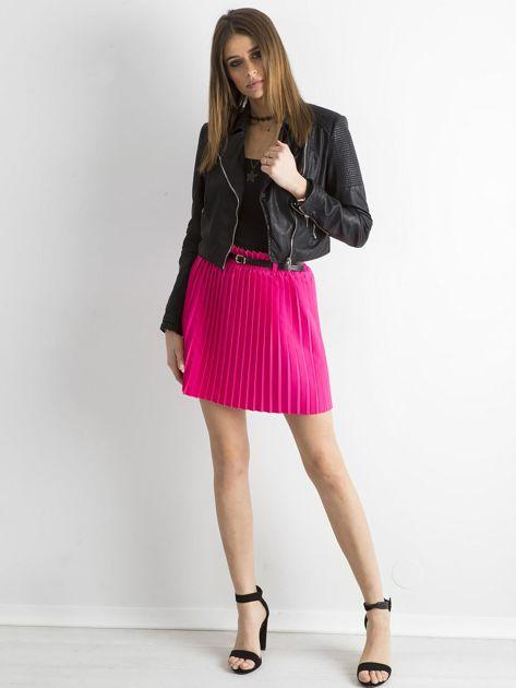 Różowa plisowana spódnica z paskiem                              zdj.                              4