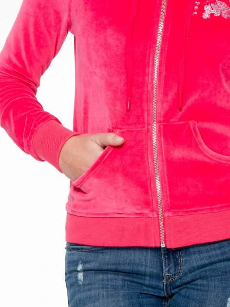 Różowa pluszowa bluza z kapturem zasuwana na suwak                                  zdj.                                  6