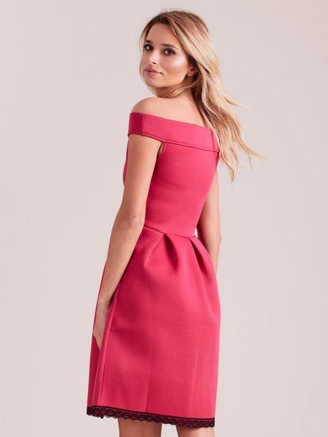 Różowa rozkloszowana sukienka z pianki                              zdj.                              2
