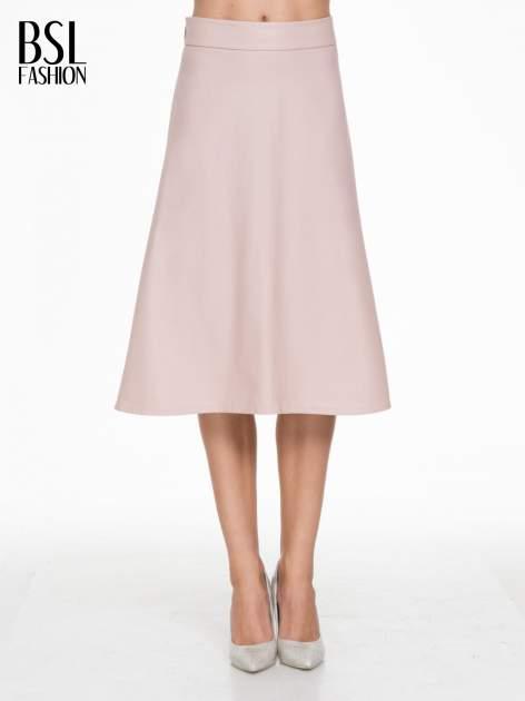 Różowa skórzana spódnica midi szyta z półkola                                  zdj.                                  1