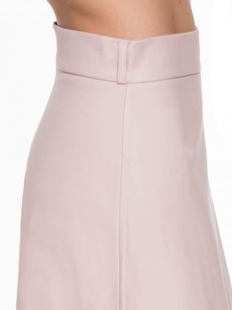 Różowa skórzana spódnica midi szyta z półkola                                  zdj.                                  5