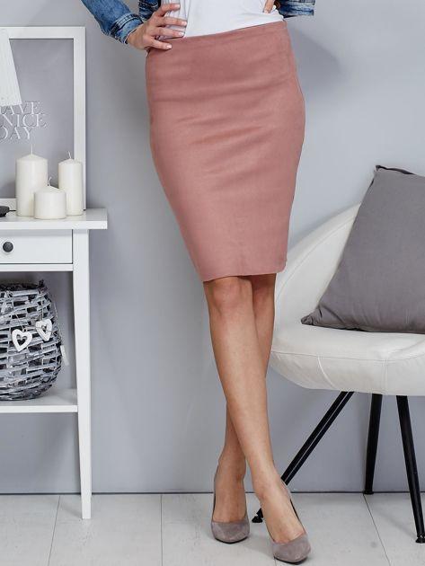 Różowa spódnica z imitacji zamszu                              zdj.                              1