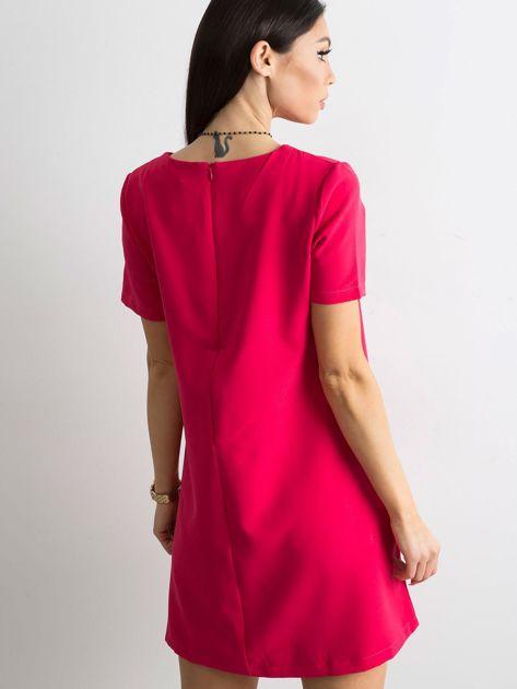 Różowa sukienka damska z kieszeniami                               zdj.                              2