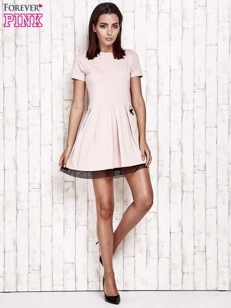 Różowa sukienka dresowa z tiulem w groszki                                  zdj.                                  6