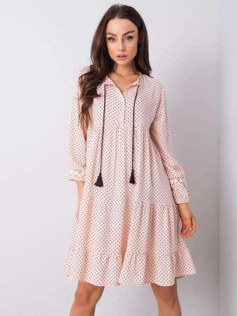 Różowa sukienka w groszki Irvine