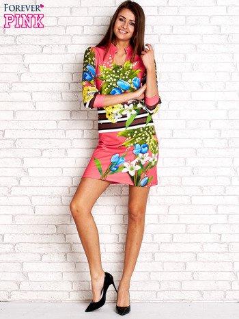 Różowa sukienka w kwiaty                                  zdj.                                  4