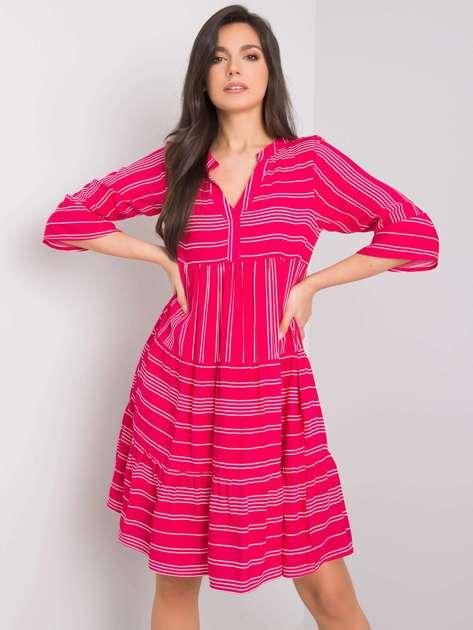 Różowa sukienka z falbaną Margherita SUBLEVEL