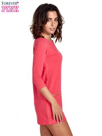 Różowa sukienka ze złotymi suwakami                                  zdj.                                  3