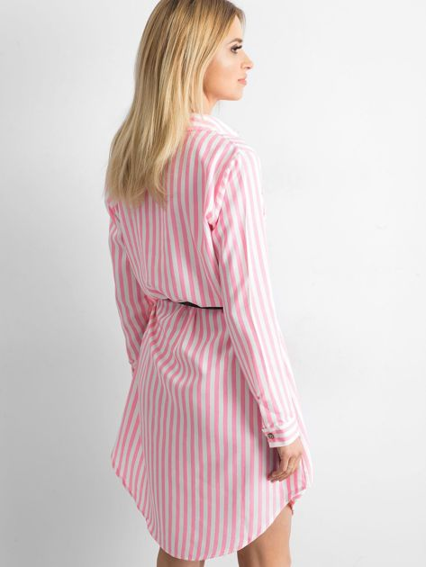 Różowa szmizjerka koszulowa w paski                              zdj.                              2