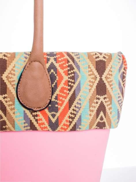 Różowa torba gumowa z motywem azteckim                                  zdj.                                  5