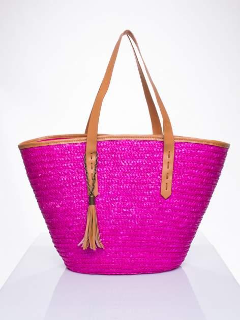 Różowa torba koszyk plażowy ze skórzanymi rączkami                                  zdj.                                  1