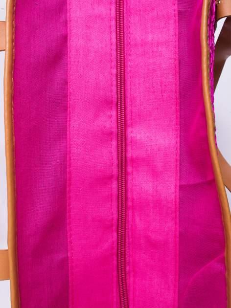 Różowa torba koszyk plażowy ze skórzanymi rączkami                                  zdj.                                  4