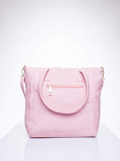 Różowa torba shopper bag ze kieszeniami na klapki                                  zdj.                                  3