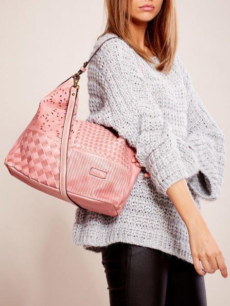 Różowa torba z motywem plecionki                              zdj.                              5