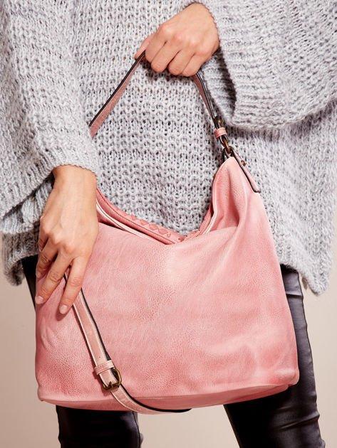 Różowa torba z motywem plecionki                              zdj.                              6