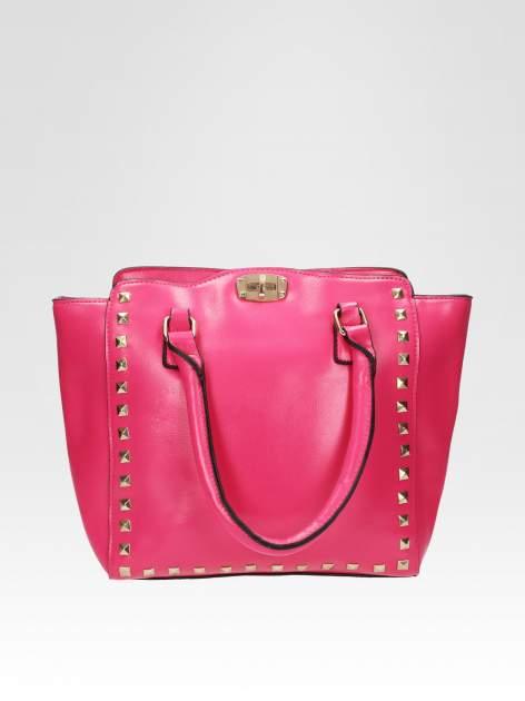 Różowa torebka na ramię z dżetami