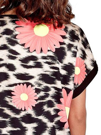 Różowa tunika z nadrukiem kwiatowym i cętkami                                   zdj.                                  5