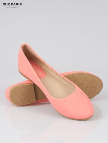 Różowe baleriny faux leather Honey ze złotym logo                                  zdj.                                  4