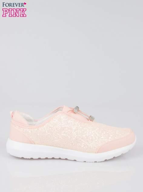 Różowe brokatowe adidasy ściągane na troczek