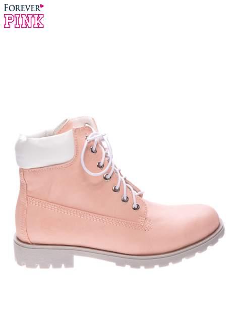 Różowe buty trekkingowe damskie typu timberki