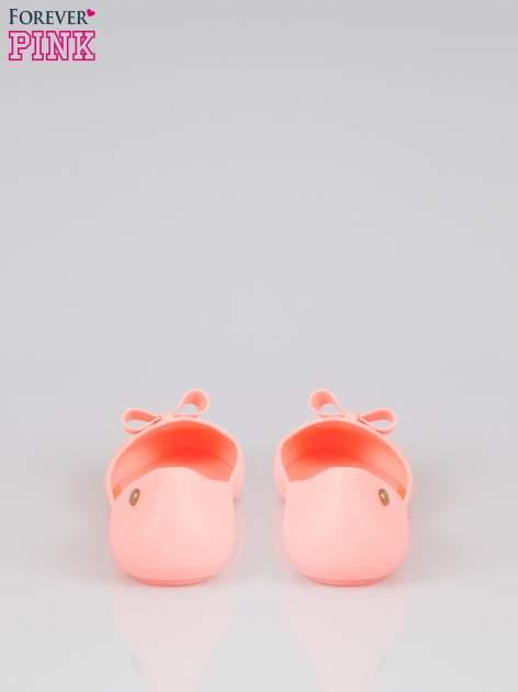 Różowe gumowe balerinki z kokardką                                  zdj.                                  3