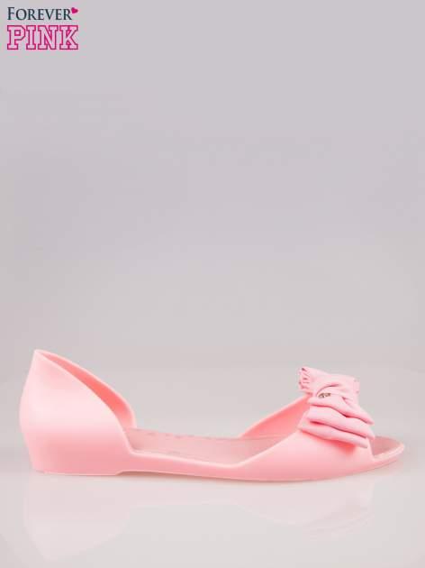 Różowe gumowe baleriny peep toe z materiałową kokardą
