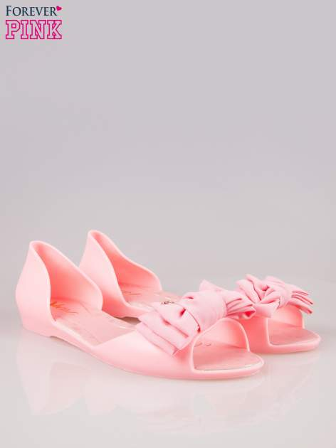 Różowe gumowe baleriny peep toe z materiałową kokardą                                  zdj.                                  2