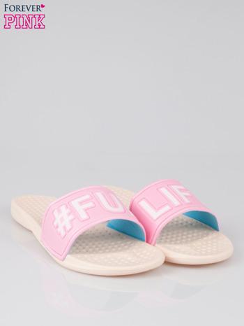 Różowe klapki hipster z hasztagiem #FUN LIFE                                  zdj.                                  2