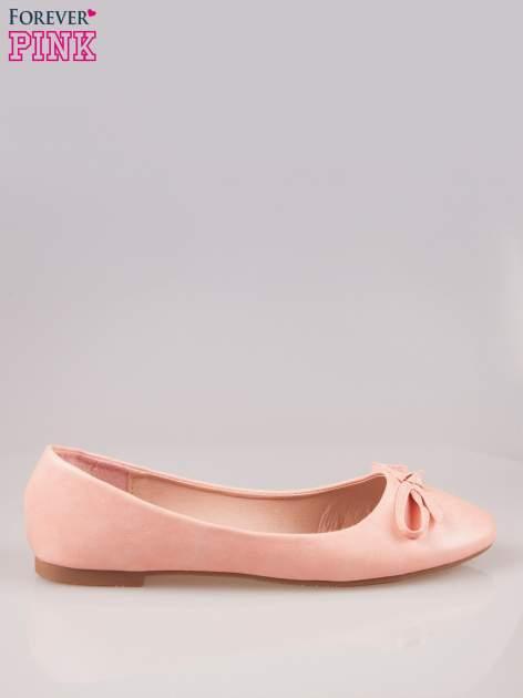 Różowe klasyczne balerinki z kokardką